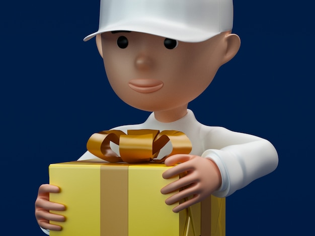 Chico con una caja de regalo