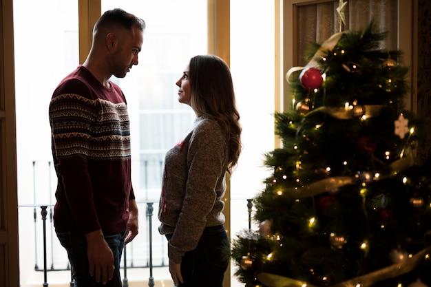 Chico mirando a la señora cerca del árbol de navidad