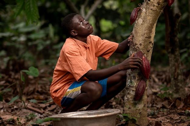 Chico sonriente de tiro medio cerca de granos de cacao