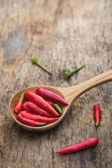 Chile rojo en la cuchara de madera para el ingrediente de la cocina