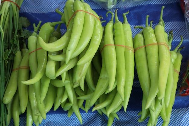 Chile verde en el mercado
