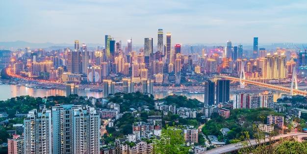 China, asiático, noche, moderno, china, ciudad