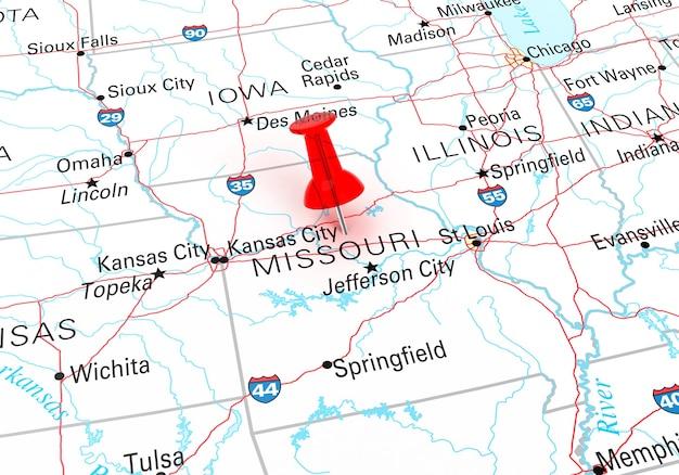 Chincheta roja sobre el mapa de estados unidos del estado de missouri. representación 3d