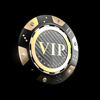 Chip de casino vip de oro 3d