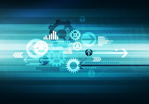 Chip de flechas de fondo de tecnología de negocio conceptual digital
