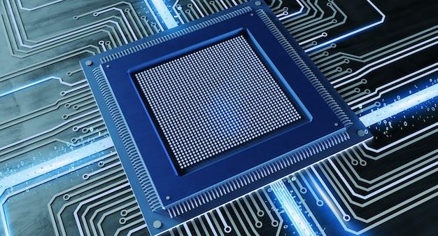 Chip de procesador de cpu y conexión de red en la placa de circuito - render 3d