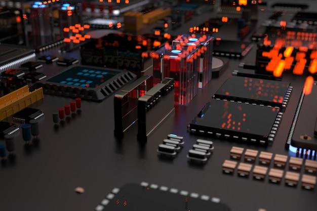 Un chip de procesador en una placa base es una placa de circuito impreso con microchips, procesadores y otras partes de la computadora en la abstracción de la ciudad del futuro.