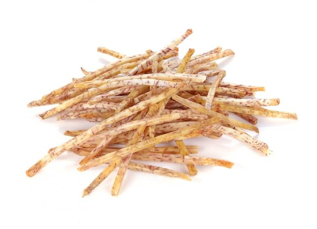 Chips de taro frito, bocadillos de taro