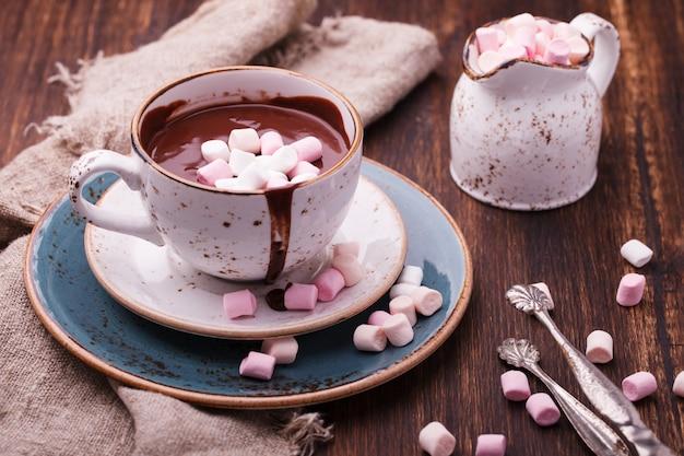 Chocolate caliente con malvavisco