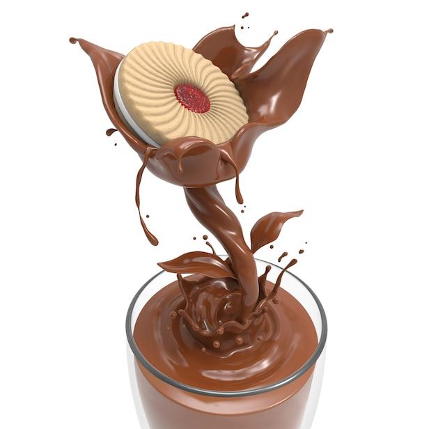 Chocolate con leche forma de flor deliciosas galletas mermelada de fresa en la leche con chocolate