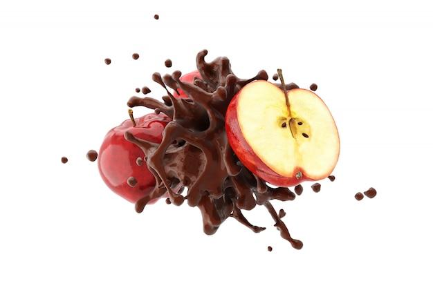 Chocolate con manzana roja sobre fondo blanco render 3d