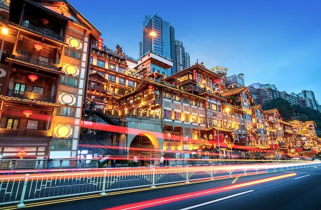 Chongqing, la arquitectura clásica de china: hongyadong.