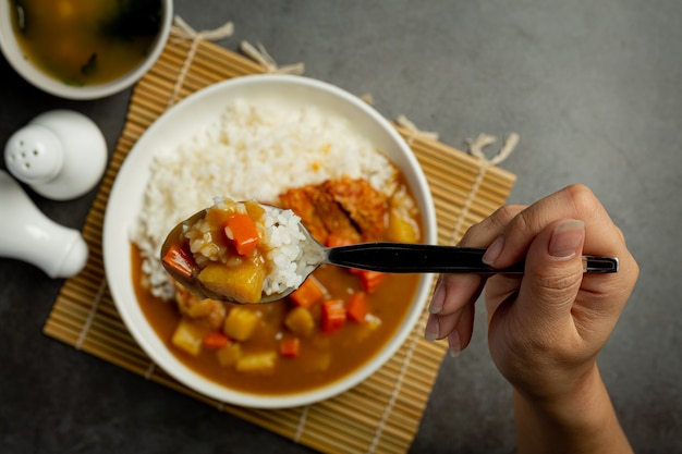 Chuleta de cerdo frita al curry con arroz sobre superficie oscura
