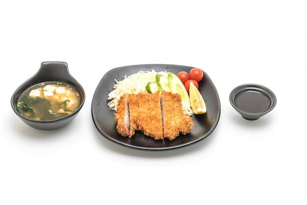 Chuleta de cerdo frita japonesa (conjunto tonkatsu)