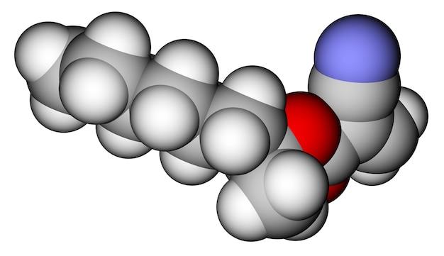 Cianoacrilato de 2-octilo, un pegamento instantáneo. estructura molecular 3d