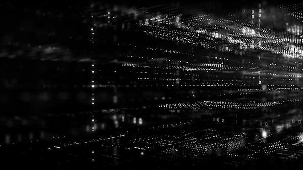 Ciberespacio digital en blanco y negro con partículas y conexiones de red de datos digitales.