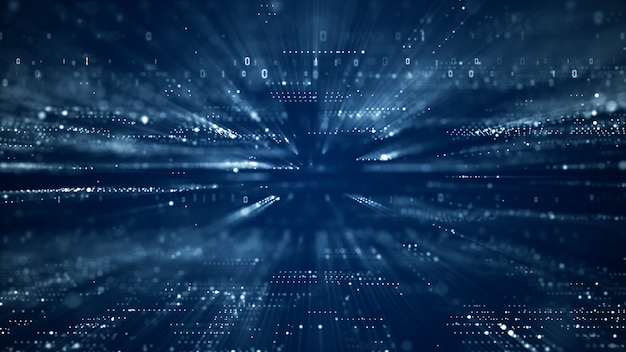 Ciberespacio digital con partículas y concepto de conexiones de red de datos digitales.