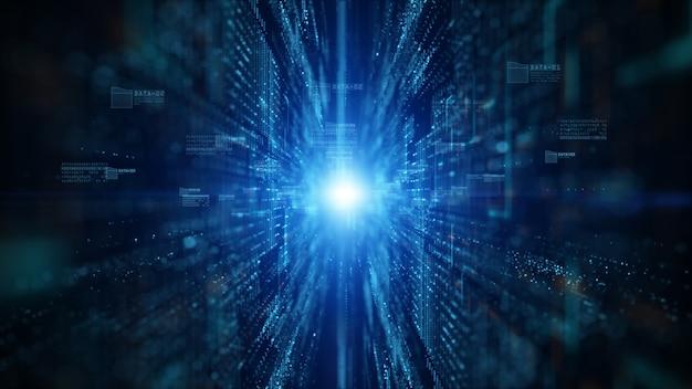 Ciberespacio digital con partículas y conexiones de red de datos digitales