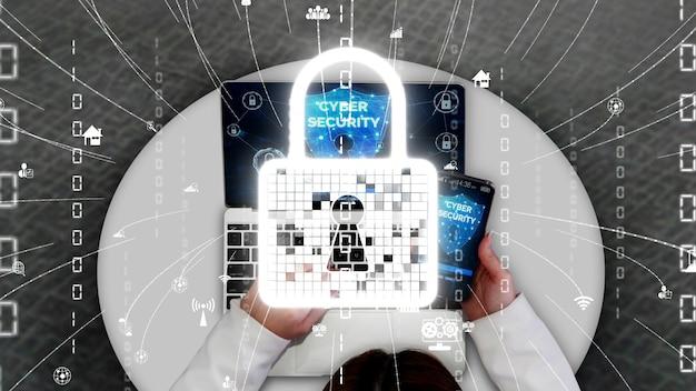 Ciberseguridad y protección de datos digitales conceptual