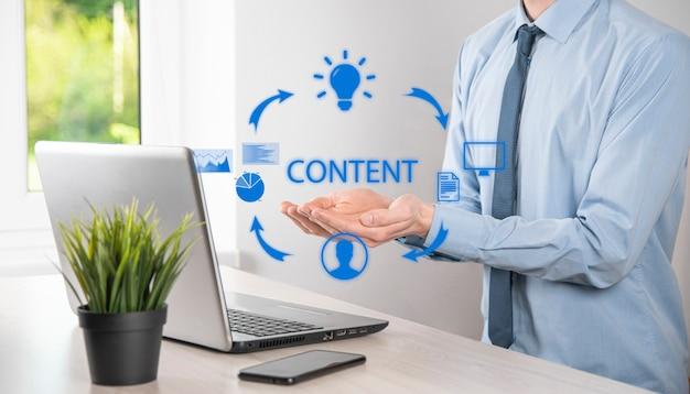 Ciclo de marketing de contenido: creación, publicación y distribución de contenido para un público objetivo en línea y análisis.