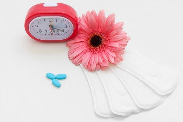 Ciclo de menstruación salud de la mujer anticoncepción píldoras anticonceptivas cuidado mujer pad regular concepto diario