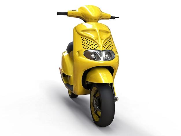 Ciclomotor amarillo urbano moderno sobre un fondo blanco.