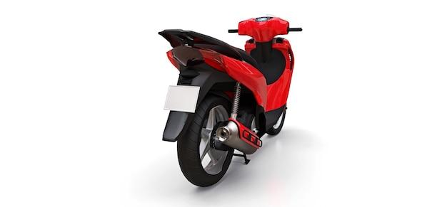 Ciclomotor rojo urbano moderno sobre un fondo blanco. ilustración 3d.