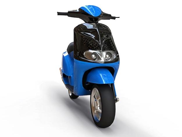 Ciclomotor urbano moderno negro y azul sobre una superficie blanca