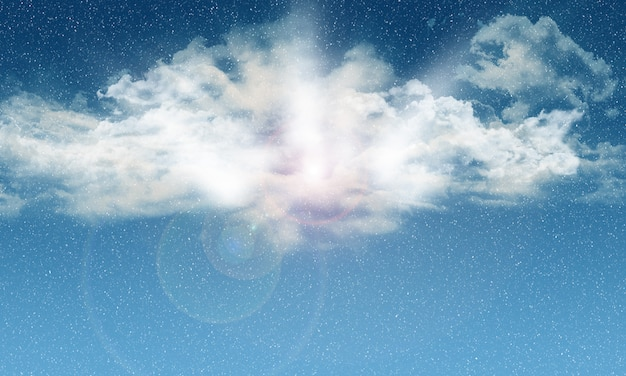 Cielo azul 3d con nieve que cae