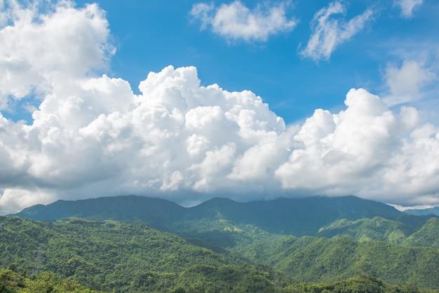 Cielo azul con nubes y paisaje de montañas.