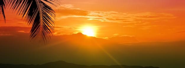 Cielo de la hora dorada de la puesta del sol con el sol sobre la montaña y la hoja de palma