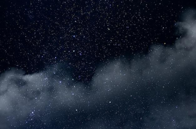 Cielo nocturno con estrellas y suave universo de la vía láctea