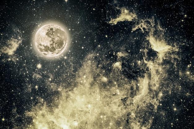 Cielo nocturno de fondo con estrellas y luna. elementos de esta imagen proporcionada por la nasa