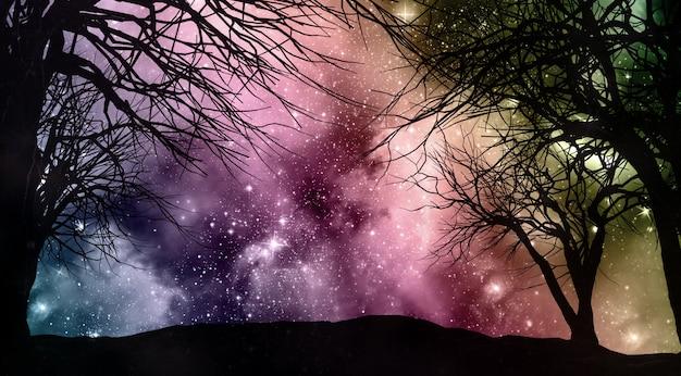 Cielo nocturno de starfield con siluetas de árboles.