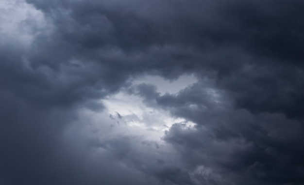 Cielo tormentoso con nubes oscuras. nubes de lluvia en el cielo. clima lluvioso.
