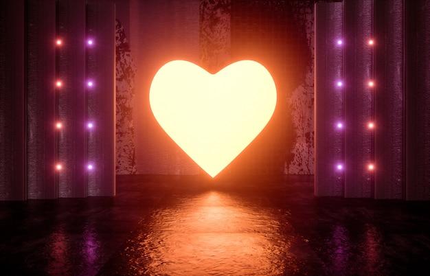 Ciencia ficción futurista escenario vacío moderno. habitación reflectante de hormigón con corazón de color rojo neón brillante. render 3d