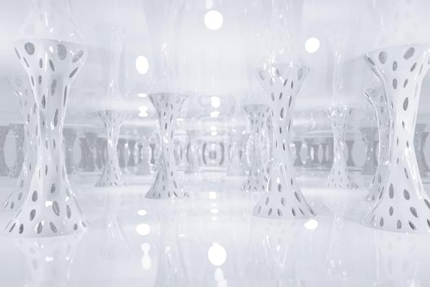 Ciencia ficción futurista fantasía blanca extraña estructura alienígena, render 3d