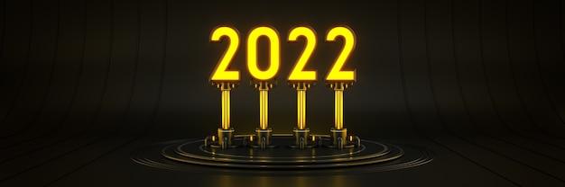 Ciencia ficción futurista moderno gran salón vacío oscuro garaje alienígena luz de ciencia ficción 2022 signo de letra año nuevo