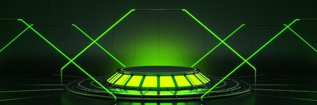 Ciencia ficción futurista moderno gran salón vacío oscuro garaje alienígena representación 3d de ciencia ficción