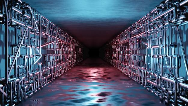 Ciencia ficción interior futurista sala pasillo garaje alienígena nave espacial tuberías comunicación brillante luz de neón niebla