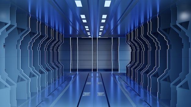 Ciencia ficción interior que representa la luz azul de los corredores de la nave espacial de la ciencia ficción, representación 3d