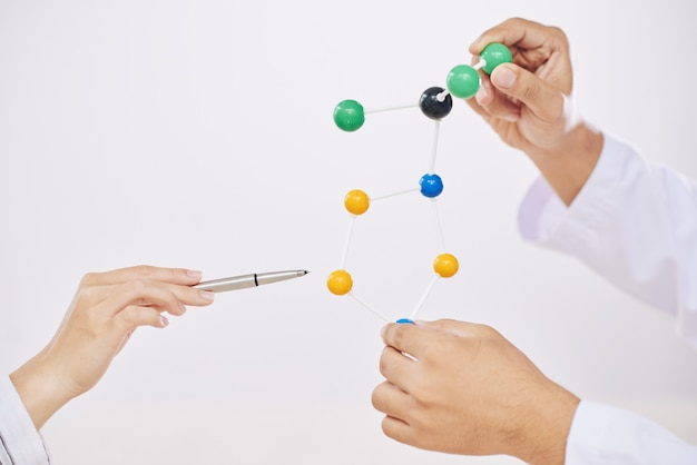 Científicos con modelo molecular.