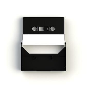 Cierre de casete de cinta de audio vintage con caja de cinta de cassette