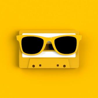 Cierre de cassette de cinta de audio vintage con gafas