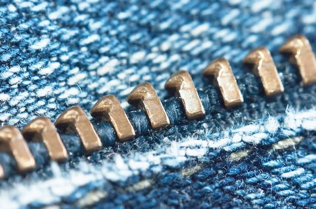 Cierre de cremallera en jeans, macro