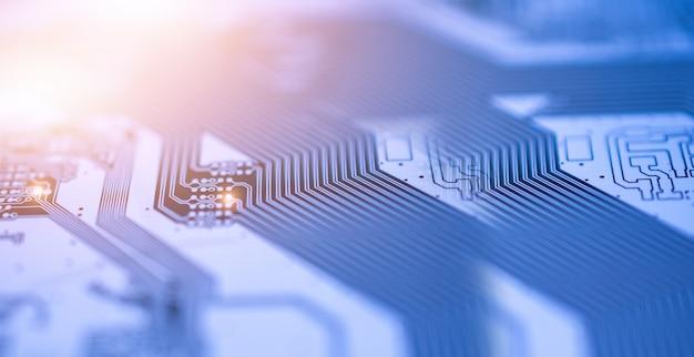 Cierre de placa de circuito pcb tecnología digital sistema de datos de comunicación