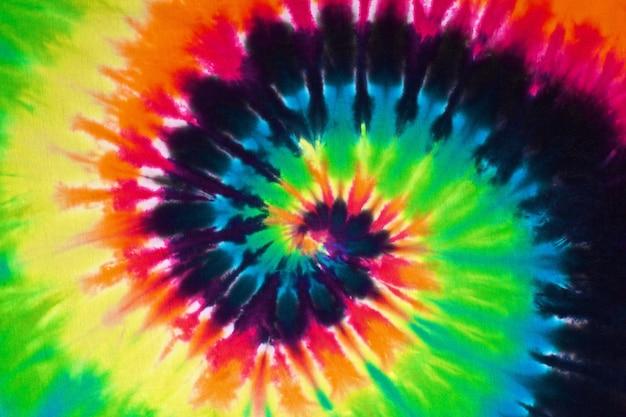 Cierre plano de colorido tie dye textura de tela de fondo