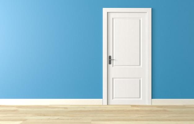Cierre la puerta de madera blanca en la pared azul, piso de madera blanca. render 3d