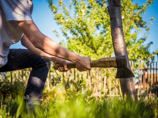 Cierre de tiro del hacha en la mano del hombre que trabaja en el jardín