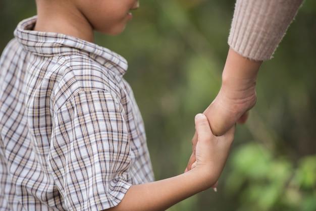 Ciérrese para arriba de la mano feliz de la explotación agrícola de la momia y del hijo en un parque. concepto de familia